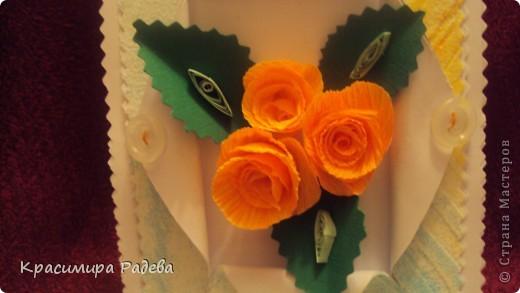 Добър  вечер на всички ! Ето какво сътворих днес- пано и картичка с рози. фото 8