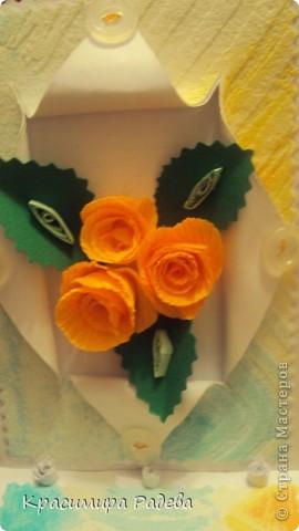 Добър  вечер на всички ! Ето какво сътворих днес- пано и картичка с рози. фото 9