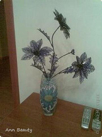 """Вот такую вазу изготовила маме на день рождения. А поскольку день рождения в январе, назвала работу """"Зимние цветы"""". За качество снимка приношу извинения, под рукой не было фотоаппарата, пришлось снимать на телефон фото 1"""