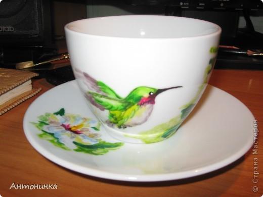 чашечка с колибри  фото 1