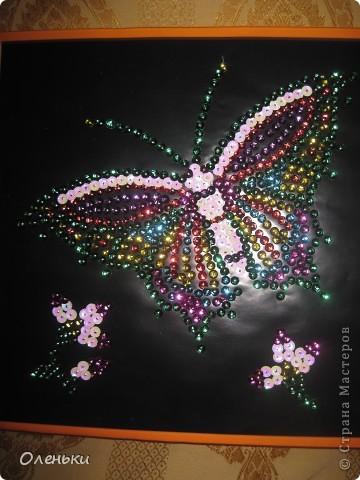 Вот такую работу сделала моя дочка Оля из гвоздиков и пайеток. фото 1