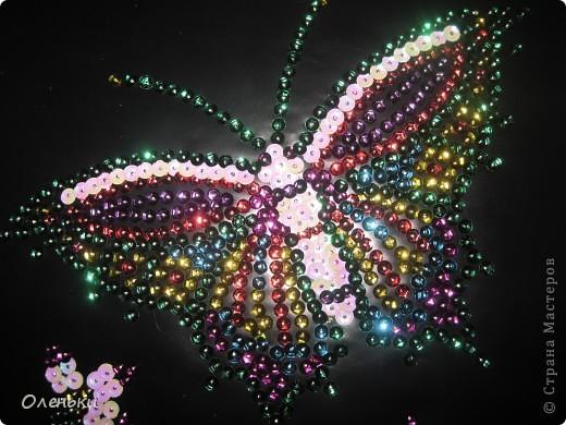 Вот такую работу сделала моя дочка Оля из гвоздиков и пайеток. фото 12