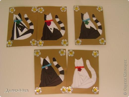 Поздравляю всех с праздником!По этому поводу сделала Атс в технике айрис фолдинг ..Верхний ряд:1 2 3,нижний ряд: 4 5.Ромашки по краям - это символ этого праздника,а кошки - это тоже символ любви и преданости к своему хозяину. фото 2