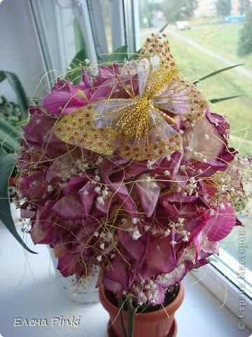 Здравствуйте дорогие мастерицы!!!наверняка не я одна такая...мне вот всегда очень жалко выбрасывать цветочки после того как они завяли и в этот раз после своего дня рождения я решила не выкидывать, а посушить...   фото 2