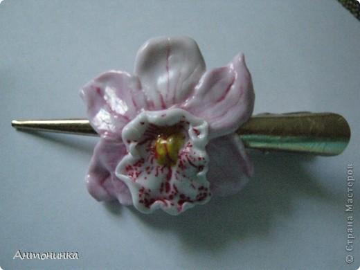 Орхидеи — прекрасные создания растительного царства. а какие красивые украшения!! колье или цветы в волосы! очень нравится! видела очень много разных мастер-классов,но никак не могла выбрать технику изготовления, поэтому взяла обычное фото, выбрала цветок и.. работа закипела! не могу сказать, что было легко, долго ориентировалась с цветом. Изначально была очень тяжелая серединка, переделывала раза 4, в итоге пришла вот к такому результату. работала без стеков, что тоже непросто, много неровностей, но это лишь первый опыт!  фото 5