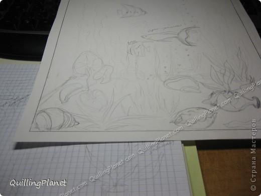 Картина панно рисунок Мастер-класс Рама паспарту Бумагопластика Вырезание Квиллинг Аквариум Бумага Бумажные полосы Картон фото 2