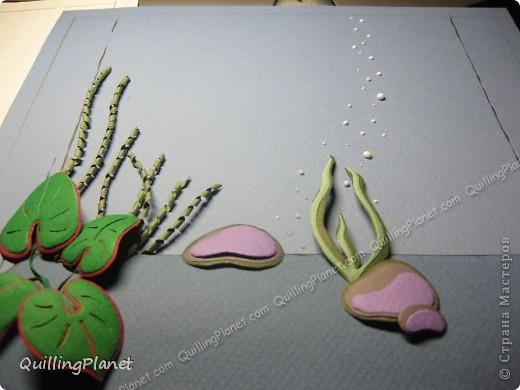 Картина панно рисунок Мастер-класс Рама паспарту Бумагопластика Вырезание Квиллинг Аквариум Бумага Бумажные полосы Картон фото 10