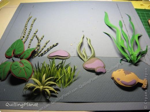 Картина панно рисунок Мастер-класс Рама паспарту Бумагопластика Вырезание Квиллинг Аквариум Бумага Бумажные полосы Картон фото 16