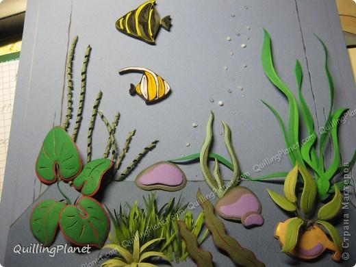 Картина панно рисунок Мастер-класс Рама паспарту Бумагопластика Вырезание Квиллинг Аквариум Бумага Бумажные полосы Картон фото 25