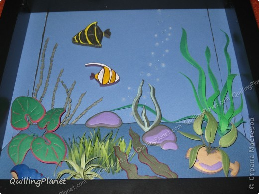 Картина панно рисунок Мастер-класс Рама паспарту Бумагопластика Вырезание Квиллинг Аквариум Бумага Бумажные полосы Картон фото 29