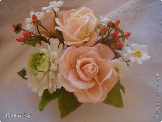 Представляю на Ваш суд свой новый букет из роз и хризантем. фото 1