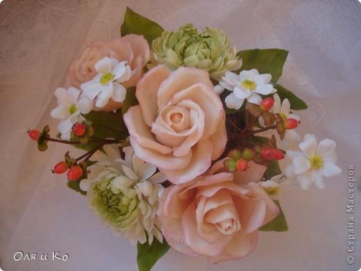 Представляю на Ваш суд свой новый букет из роз и хризантем. фото 2