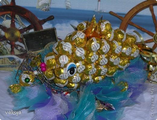 Вот такая рыбка получилась для подружки на День Варенья. Надеюсь, она исполнит ВСЕ ее желания.