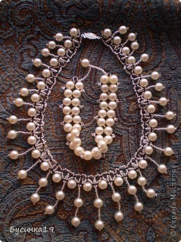 Колье жемчужное с браслетом фото 2