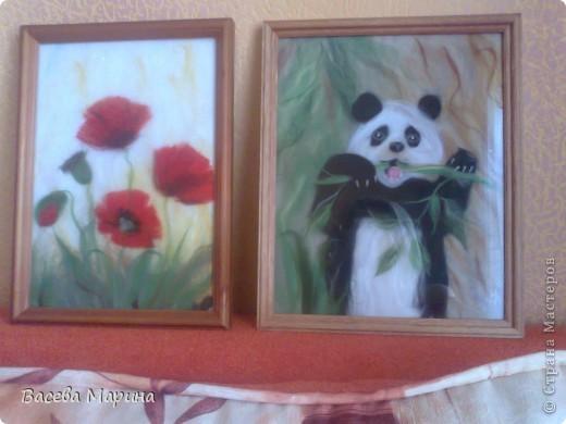 Эту панду я сделала после того как побывала в блоге Екатерины Буянковой, она профессионал в шерстяной акварели и делает потрясающие картины! Ее  панда и вдохновила меня на такие свершения))) фото 2