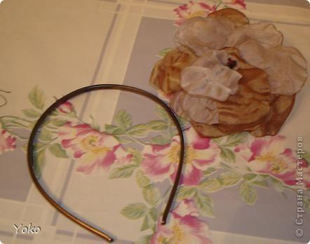 В доверщение темки про цветы из ткани встал вопрос: а как их крепить????? Покажу, как это делаю я. Итак нам понадобится: ножницы, нитка с иголкой, резиновая нитка - не знаю как точно называется, продается для бусиков и браслетов. фото 7