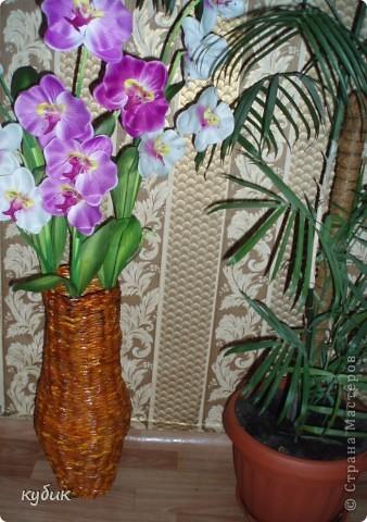 вот такие напольные вазы я сплела в подарок, эту маме фото 1