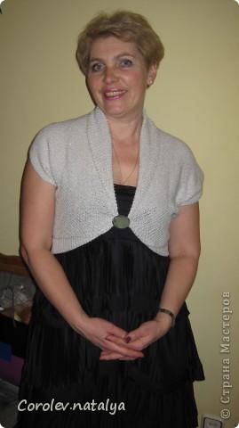 Дочка подарила мне платье,но оно оказалось очень открытым,решила связать болеро.Долго рылась в журналах и наконец нашла,то что я хотела! фото 1