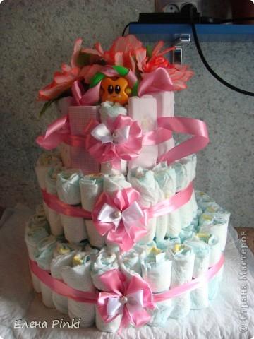 вот такой тортик на рождение малышки я сделала)))) фото 1