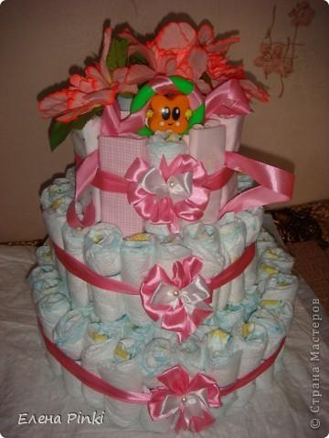 вот такой тортик на рождение малышки я сделала)))) фото 2