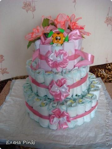 вот такой тортик на рождение малышки я сделала)))) фото 4