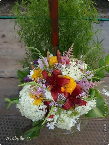 Букеты собирала моя родственница на вручение диплома из домашних (садовых) цветов. фото 2
