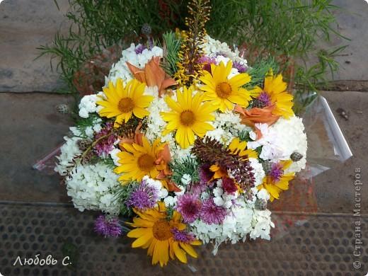Букеты собирала моя родственница на вручение диплома из домашних (садовых) цветов. фото 3