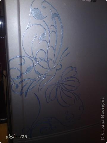 было грустно,решила росписать холодильник )) фото 1
