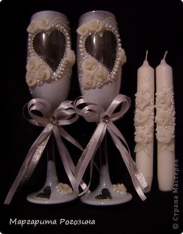 Свадебные бокалы и свечи фото 2
