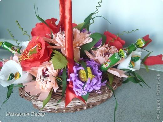Вот собственно первая часть подарка-сладкий букетик)))Корзинку плела раньше http://stranamasterov.ru/node/215543 ,сегодня занялась её наполнением! фото 16