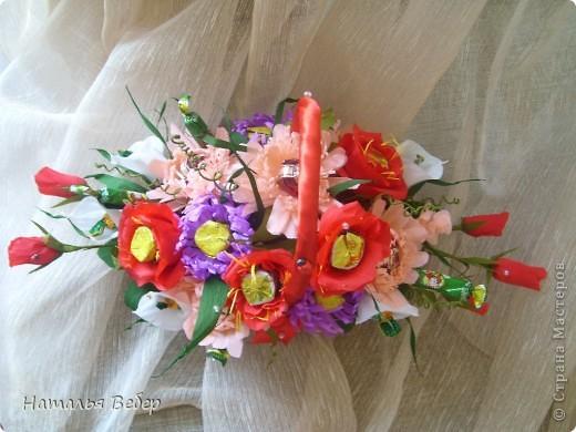 Вот собственно первая часть подарка-сладкий букетик)))Корзинку плела раньше http://stranamasterov.ru/node/215543 ,сегодня занялась её наполнением! фото 20