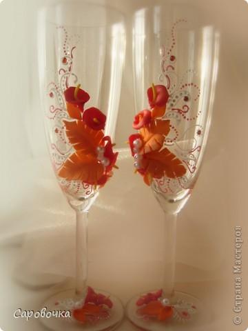 Декор предметов свадьба лепка бокалы
