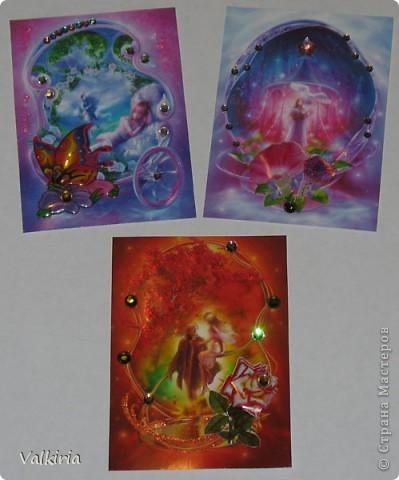 Были у меня фантазийные картинки, про которые я почему-то забыла, но вот они мне попались на глаза и захотелось сделать что-то, ну и конечно этим что-то стали АТСки :))  картинки украшены стразами, гелем и объемными цветами и бабочками  1 - Юле 2 - дома 3 - отложено фото 3
