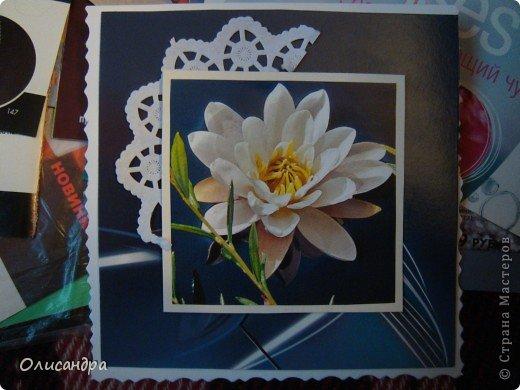 """Девочки! Как называется этот цветок? ******************************************* Окрыленная положительными отзывами, решила повторить свой эксперимент... и сделать еще одну открытку-стойку... Т.е. хотела ,просто, повторить то,что уже делала,но с другой картинкой... http://stranamasterov.ru/node/215641  Т.е. думать не хотелось, хотелось сделать быстренько... Но, кажется, быстренько я не умею...  Опять """"муки творчества"""" длились до середины ночи... фото 7"""