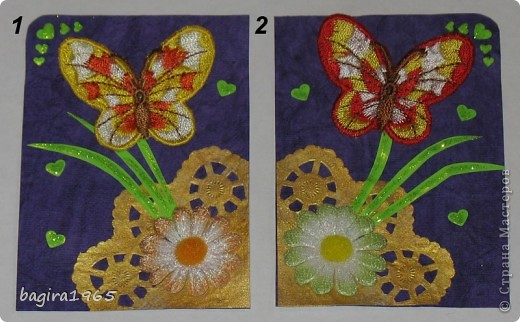 Бабочки вышитые (правда не мною...), фон - очень красивая жатая фиолетовая бумага, салфеточка покрашена золотым акрилом с помощью спонжа, цветочки пушистенькие... ну, короче, сами видите всё остальное.  № 1 - оставляю себе № 2 - k.aktus фото 1