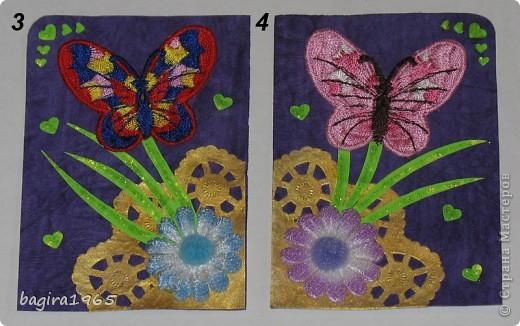 Бабочки вышитые (правда не мною...), фон - очень красивая жатая фиолетовая бумага, салфеточка покрашена золотым акрилом с помощью спонжа, цветочки пушистенькие... ну, короче, сами видите всё остальное.  № 1 - оставляю себе № 2 - k.aktus фото 2