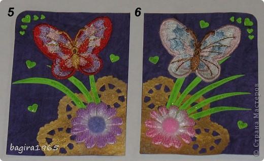 Бабочки вышитые (правда не мною...), фон - очень красивая жатая фиолетовая бумага, салфеточка покрашена золотым акрилом с помощью спонжа, цветочки пушистенькие... ну, короче, сами видите всё остальное.  № 1 - оставляю себе № 2 - k.aktus фото 3
