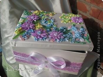 Наконец-то я закончила свою свадебную коробочку. Начала её еще месяц назад, но так как времени очень мало, так как занималась ей только после работы и в выходные, то делала долго. Долго думала, какой узор изобразить на своей коробке, лазала по разным сайтам, и в итоге вдохновилась я работой увиденной на сайте http://www.paper-studio.ru/big_gallery/img_4857.jpg,  которую сначала увидела у Ольги Студниковой http://stranamasterov.ru/node/97875. Спасибо большое за вдохновение. Так как изначально площадь работы была большая, пришлось картинку дофантазировать самой, надеюсь ничего не испортила!!! Коробкой ооочень довольна, так как её первую начала, но делала дольше всего, параллельно сделала 2 открытки (можете их тоже посмотреть в моем блоге) Приятного просмотра! :) фото 3