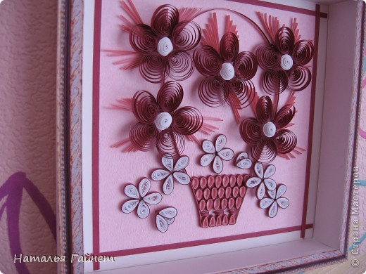Цветочная фантазия.Букет сделан для детской моим девчушкам.Новым розовым обоям нужно новое украшение. Размер 15*15 см фото 7
