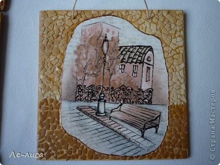 В последнее время я подсела на триптихи с использованием яичной скорлупы. Фанера 14х14, картинки из обоев. фото 6