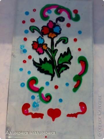 Это превый мой опыт работы с витражными красками.  На старых кусочках стекла, которые папа откапал по моей просьбе=) фото 2
