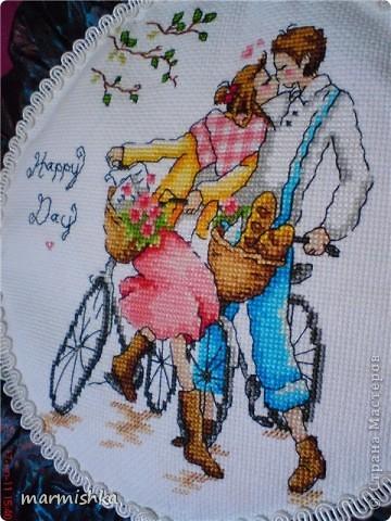 Любовь и велосипеды (подушка Tilda) фото 2