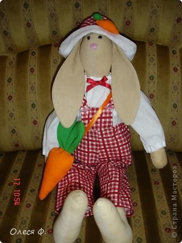 """Год назад у меня """"родилась"""" сестре на день рождения зайка ( http://stranamasterov.ru/node/84635) Год прошёл, по просьбам хозяйки ей сшит жених. фото 1"""