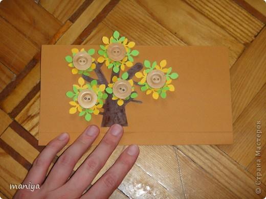 вот такой конверт для денешек подготовила на пятую годовщину свадьбы для друзей. это деревянная свадьба так что выбор рисунка и материала не случаен)) фото 2
