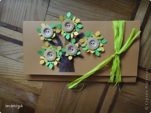 вот такой конверт для денешек подготовила на пятую годовщину свадьбы для друзей. это деревянная свадьба так что выбор рисунка и материала не случаен)) фото 1