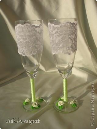 Подготовка к свадьбе продолжается! Это мои свадебные бокалы!  Помимо квиллинга, увлеклась еще пластикой. Спасибо СТРАНЕ МАСТЕРОВ! фото 1