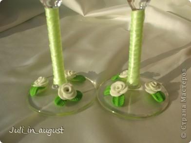 Подготовка к свадьбе продолжается! Это мои свадебные бокалы!  Помимо квиллинга, увлеклась еще пластикой. Спасибо СТРАНЕ МАСТЕРОВ! фото 2