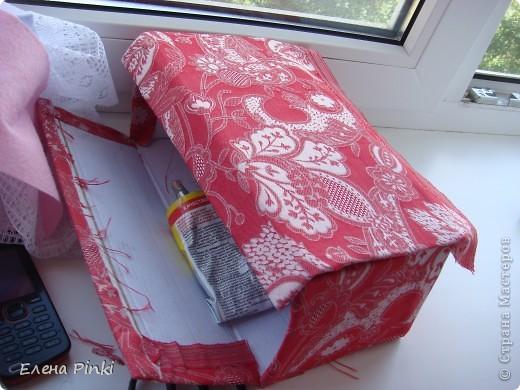 Добрый день мастерицы!!Вот решила запечатлить процесс создания коробки для рукоделия. Никогда раньше подобного не делала, но результат не разочаровал!!очень буду рада если кому то пригодится мой опыт))) фото 5