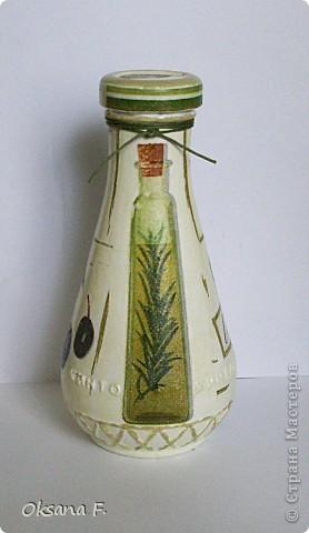 """Давно хотела """"оливковую"""" бутылочку... Все ждала, когда закончится ткемали, но не дождалась:)) Высота бутылочки 14,5 см фото 4"""