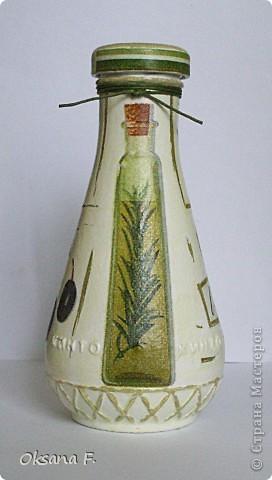 """Давно хотела """"оливковую"""" бутылочку... Все ждала, когда закончится ткемали, но не дождалась:)) Высота бутылочки 14,5 см фото 1"""